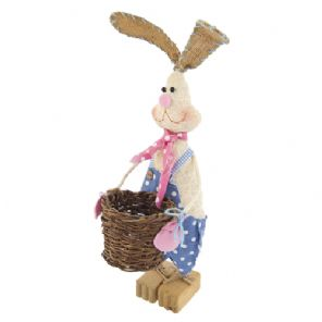 Easter Bunny in BLUE Dungarees with basket